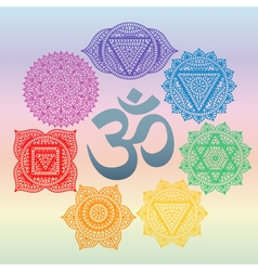 Set of seven chakras and symbol om in the centre vector