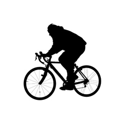 Silhouette of man riding on a bicycle vector