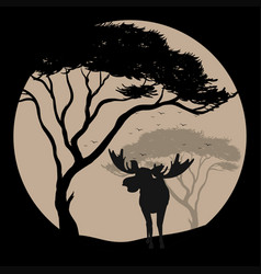 Silhouette scene with moose at fullmoon night vector