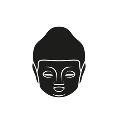 Simple black buddha face or head style icon vector