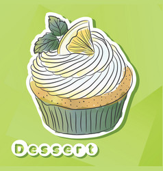 sticker with lemon cake vector image