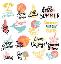 Summer emblems set of hand drawn lettering vector