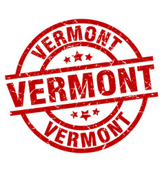 Vermont red round grunge stamp vector
