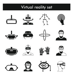 Virtual reality icons set in black line style vector