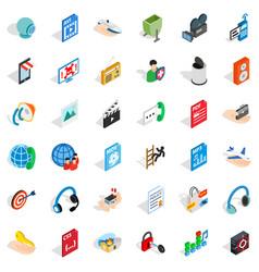 Web management icons set isometric style vector