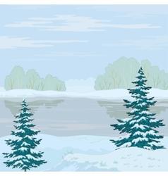 winter landscape forest river vector image vector image