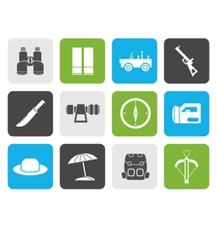 Flat safari hunting and holiday icons vector