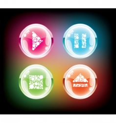 Glass music button vector