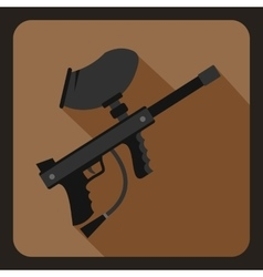 Paintball marker icon flat style vector image