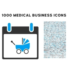 Baby carriage calendar day icon with 1000 medical vector