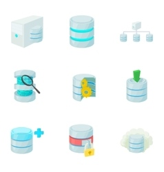 Data storage icons set cartoon style vector