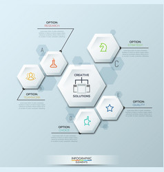 Infographic design template with 6 separate white vector