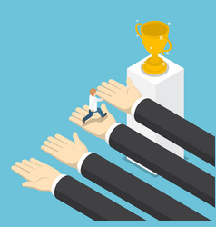 Isometric big hands help businessman to success vector