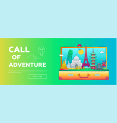 Call of adventure - line travel web banner vector