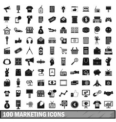 100 marketing icons set simple style vector image