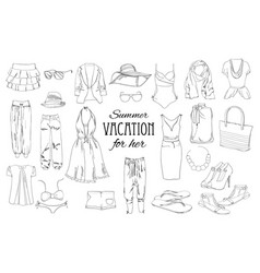 summer travel packing for vacation woman clothing vector image