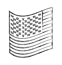 Monochrome sketch of small flag of the united vector