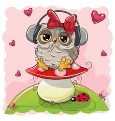 cute cartoon owl girl with headphones vector image