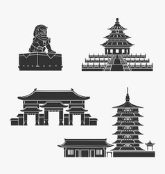 Chinese historical buildings symbol set vector