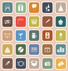 New year flat icons on orange background vector