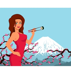 Woman eat sushi background with sakura and vector