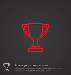 Winner cup outline symbol red on dark background vector