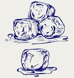 Bunch of ice cubes vector image