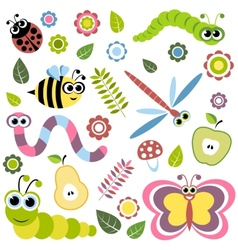 Background with cartoon insects flowers leaves vector