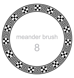 Frame round ornament meander pattern vector