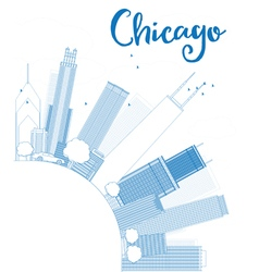 Outline chicago city skyline with blue skyscrapers vector