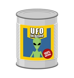 Canned ufo tin can alien vector