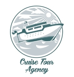 Cruise tour agency logo design with liner ship vector