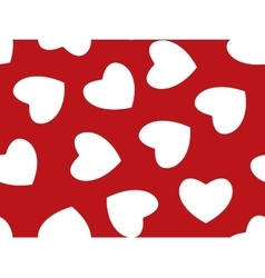 Seamless background of red hearts on white vector