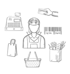 Seller profession and shopping sketched icons vector