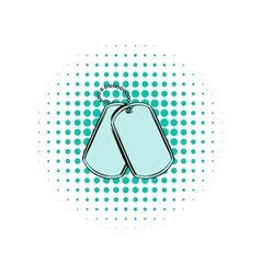 Soldier identity tag comics icon vector