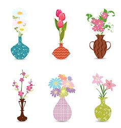 cute collection decorative vases with flowers for vector image
