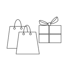 Shopping bags and gift box with ribbon icon vector
