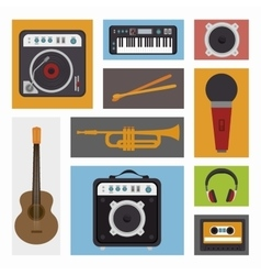 Set the music industry devices isolated icon vector