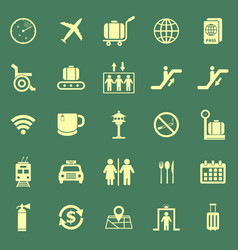 Airport color icons on green background vector