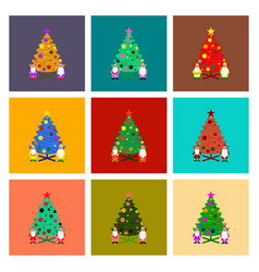 assembly flat christmas tree santa claus vector image