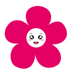 Beautiful flower comic character decoration icon vector