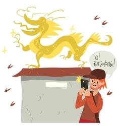 Boy with smart phone taking self near dragon vector