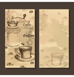 Card menu with sketch of coffe set vector