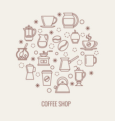 Coffee thin line icons set in a circle vector