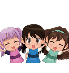 Colorful set three half body cute anime tennagers vector