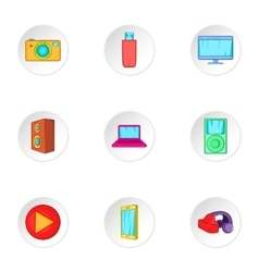 Electronics icons set cartoon style vector