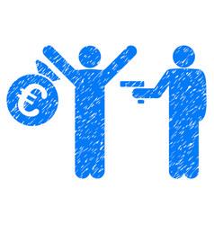 Euro robbery grunge icon vector