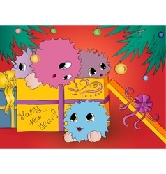 four cute monsters gift box christmas tree red vector image vector image