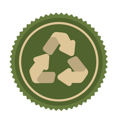 green emblem cycle recycle icon vector image