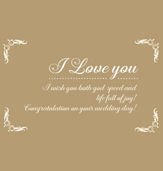 Greeting card of wedding graphic collection vector